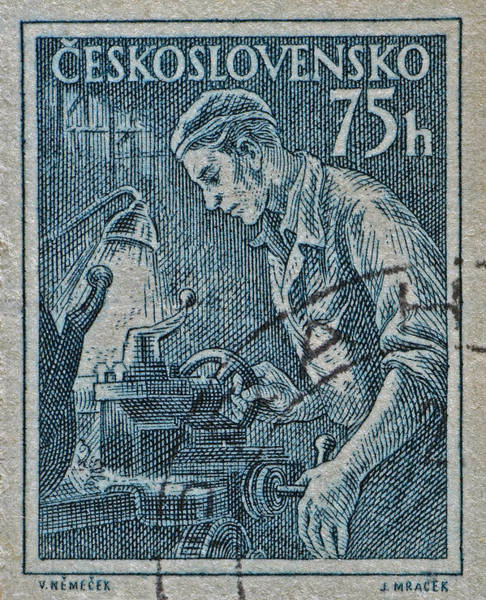 Czechoslovakian Photograph - 1954 Czechoslovakian Lathe Operator Stamp by Bill Owen
