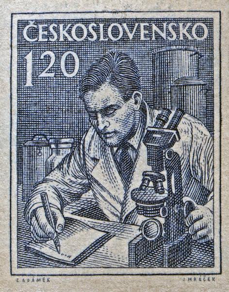 Czechoslovakian Photograph - 1954 Czechoslovakian Scientist Stamp by Bill Owen