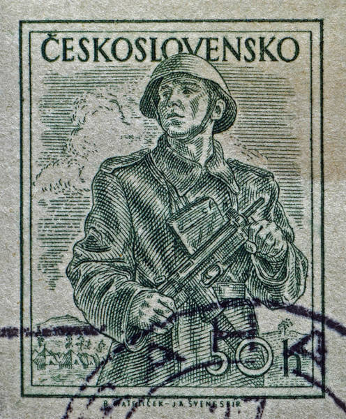 Czechoslovakian Photograph - 1954 Czechoslovakian Soldier Stamp by Bill Owen
