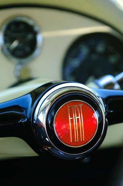 Photograph - 1954 Fiat 1100 Berlinetta Stanguellini Bertone Steering Wheel Emblem by Jill Reger