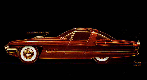 Wall Art - Drawing - 1954 Ford Cougar  Experimental  Car Concept Styling Design Concept Sketch by John Samsen