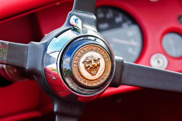 Photograph - 1954 Jaguar Steering Wheel Emblem -0959c by Jill Reger
