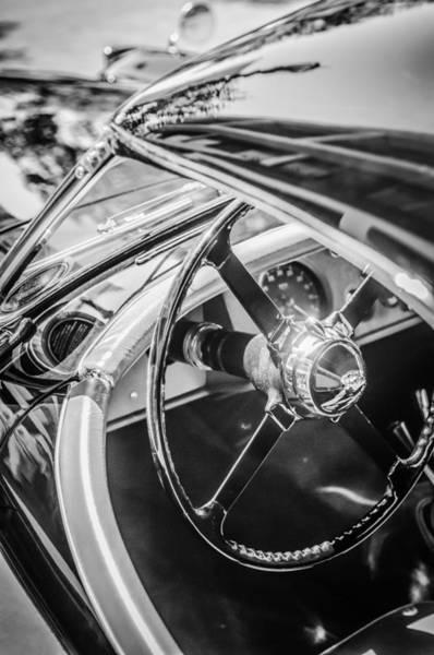 Roadsters Photograph - 1954 Jaguar Xk120 Roadster Steering Wheel -0500bw by Jill Reger