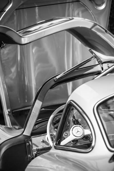 Wall Art - Photograph - 1954 Mercedes-benz 300sl Gullwing Steering Wheel -1653bw by Jill Reger