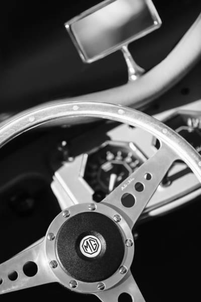 Photograph - 1954 Mg Tf Steering Wheel Emblem -0920bw by Jill Reger