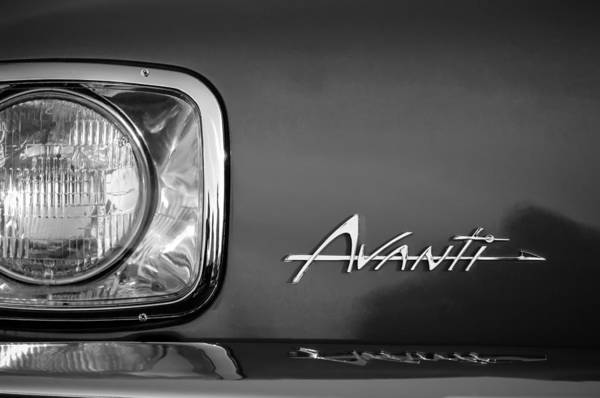 Photograph - 1954 Studebaker Avanti Emblem -0281bw by Jill Reger
