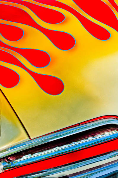 Photograph - 1954 Studebaker Champion Coupe Hot Rod Red With Flames - Grille Emblem by Jill Reger