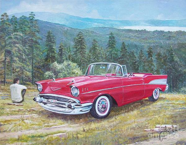 Painting - 1955-1957 Chevrolet Bel Air Cabriolet by Sinisa Saratlic