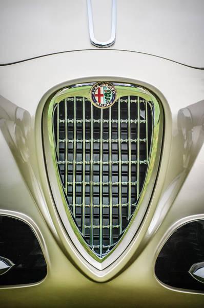 Photograph - 1955 Alfa Romeo 1900 Css Ghia Aigle Cabriolet Grille Emblem -0564c by Jill Reger