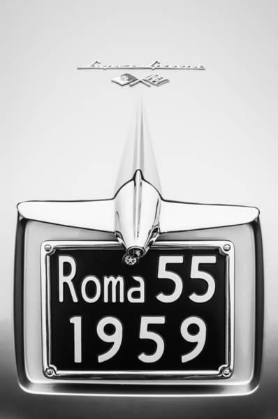 Photograph - 1955 Alfa Romeo 1900 Css Ghia Aigle Cabriolet Grille Emblem - Super Sprint Emblem -0601bw by Jill Reger