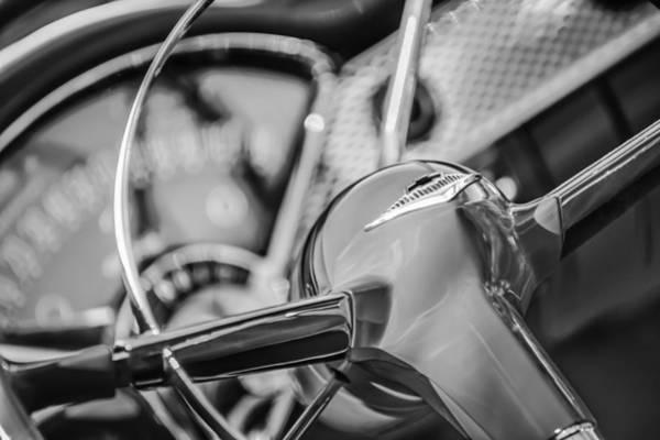 Chevy Bel Air Photograph - 1955 Chevrolet Bel Air Convertible Steering Wheel Emblem -0976bw by Jill Reger
