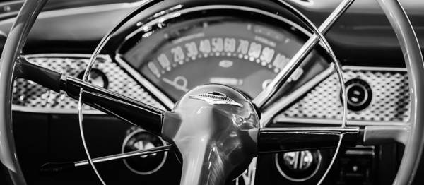 Chevy Bel Air Photograph - 1955 Chevrolet Bel Air Convertible Steering Wheel Emblem -0992bw by Jill Reger