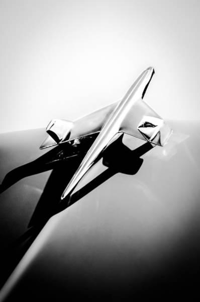 Chevrolet Bel Air Photograph - 1955 Chevrolet Belair Hood Ornament -154bw by Jill Reger