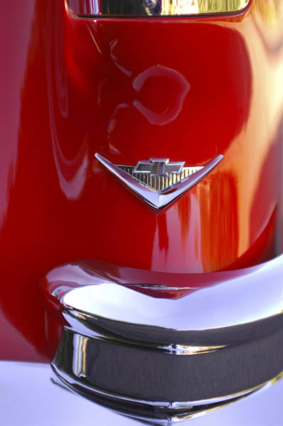 Car Part Photograph - 1955 Chevrolet Belair Nomad Emblem by Jill Reger