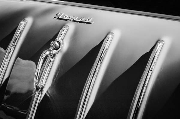 Nomad Photograph - 1955 Chevrolet Belair Nomad Hood Ornament -559bw by Jill Reger