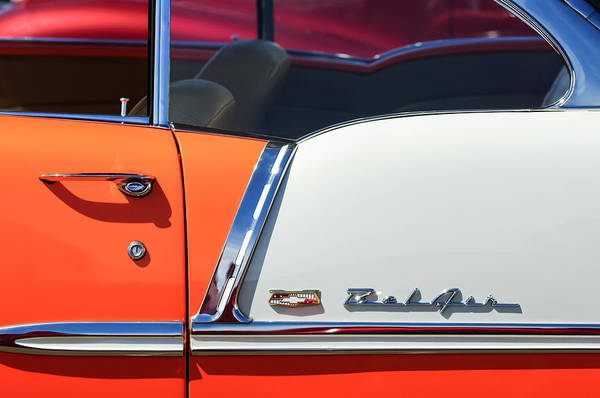 Photograph - 1955 Chevrolet Belair Side Emblem by Jill Reger