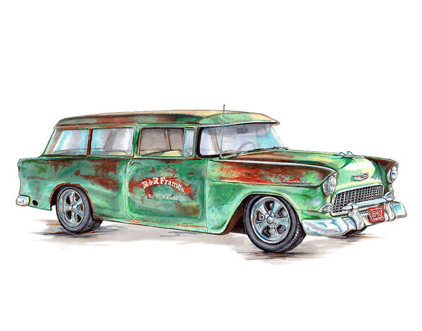 Chevrolet Drawing - 1955 Chevrolet Wagon by Shannon Watts
