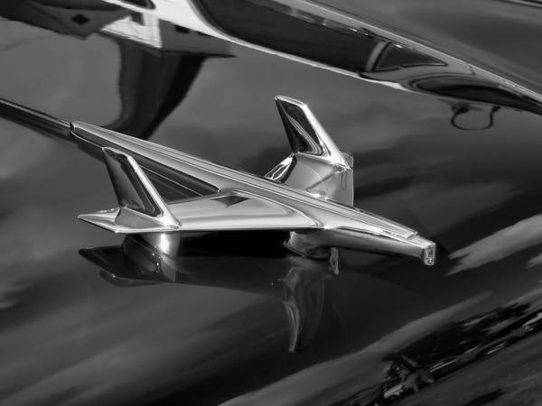 Photograph - 1955 Chevy Bel Air Hood Ornament In Black And White by Kathy K McClellan