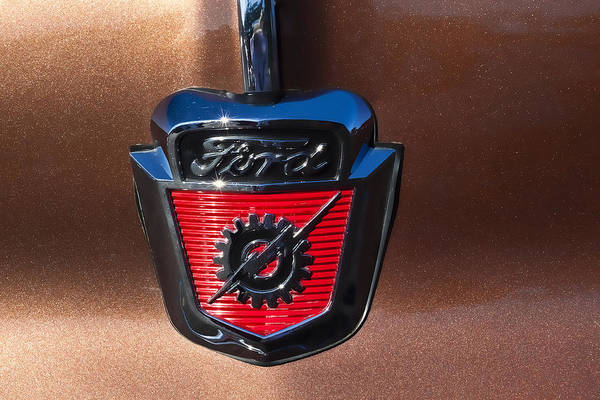 Show Photograph - 1955 Ford Emblem by Carol Leigh