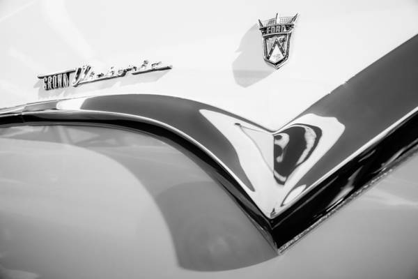 Ford Fairlane Photograph - 1955 Ford Fairlane Crown Victoria Emblem -0098bw by Jill Reger