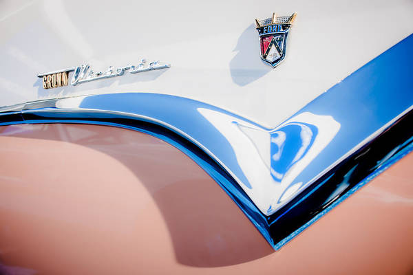 Ford Fairlane Photograph - 1955 Ford Fairlane Crown Victoria Emblem -0098c by Jill Reger