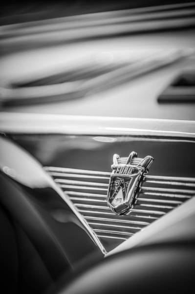Ford Fairlane Photograph - 1955 Ford Fairlane Crown Victoria Emblem -1608bw by Jill Reger