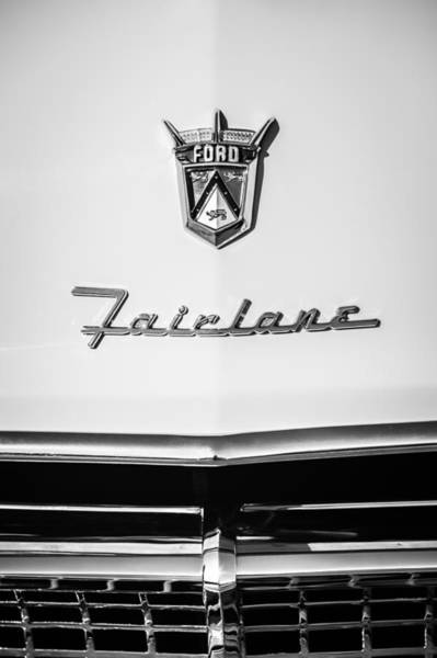 Ford Fairlane Photograph - 1955 Ford Fairlane Crown Victoria Emblem -1713bw by Jill Reger