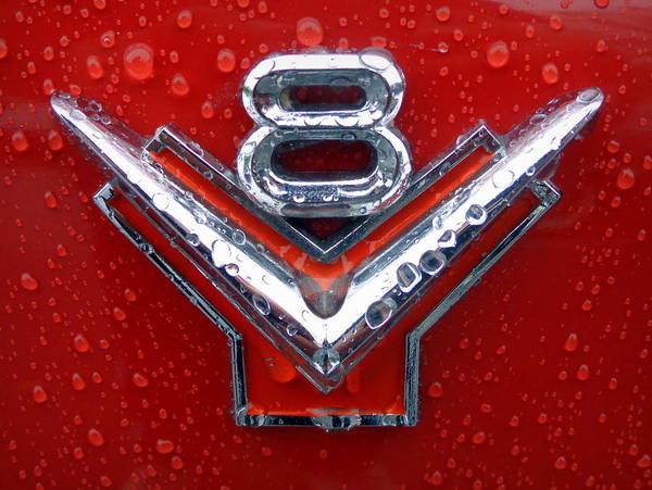 Joseph Photograph - 1955 Ford V8 Emblem by Joseph Skompski
