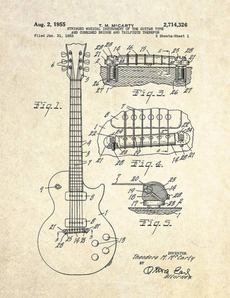 Rock Music Drawing - 1955 Gibson Les Paul Patent Drawing by Gary Bodnar