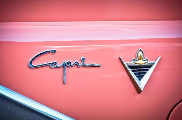 Photograph - 1955 Lincoln Capri Emblem 2 by Jill Reger