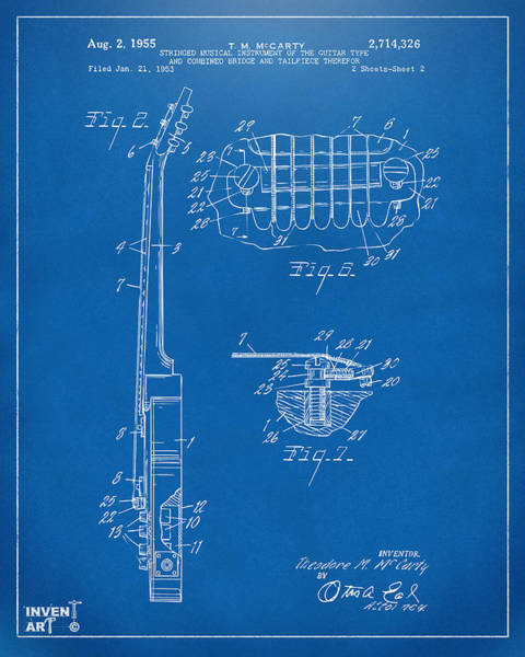 Wall Art - Digital Art - 1955 Mccarty Gibson Les Paul Guitar Patent Artwork 2 Blueprint by Nikki Marie Smith