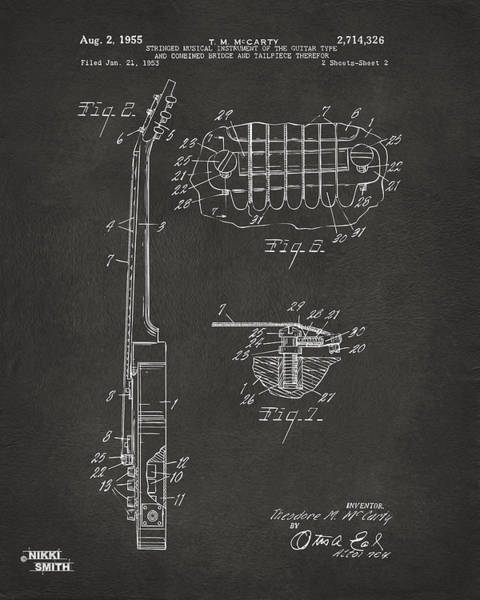 Wall Art - Digital Art - 1955 Mccarty Gibson Les Paul Guitar Patent Artwork 2 - Gray by Nikki Marie Smith