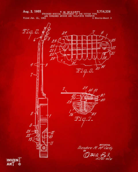 Wall Art - Digital Art - 1955 Mccarty Gibson Les Paul Guitar Patent Artwork 2 Red by Nikki Marie Smith