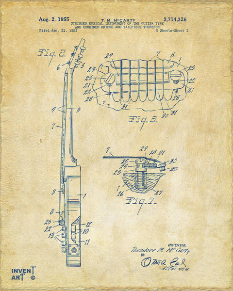 Wall Art - Digital Art - 1955 Mccarty Gibson Les Paul Guitar Patent Artwork 2 Vintage by Nikki Marie Smith