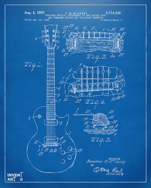 Den Digital Art - 1955 Mccarty Gibson Les Paul Guitar Patent Artwork Blueprint by Nikki Marie Smith