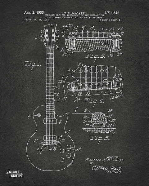Office Digital Art - 1955 Mccarty Gibson Les Paul Guitar Patent Artwork - Gray by Nikki Marie Smith