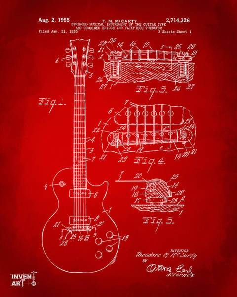 Wall Art - Digital Art - 1955 Mccarty Gibson Les Paul Guitar Patent Artwork Red by Nikki Marie Smith