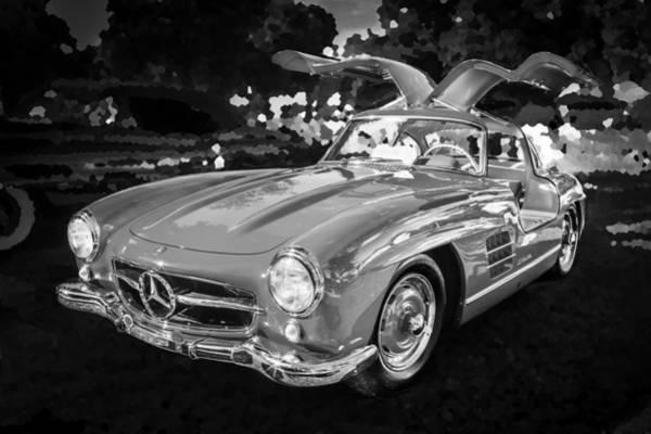 Photograph - 1955 Mercedes Benz 300 Sl Gullwing  Bw by Rich Franco