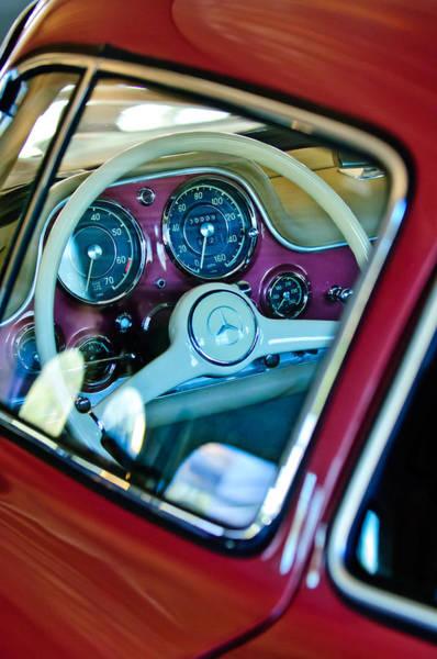 Wall Art - Photograph - 1955 Mercedes-benz 300sl Gullwing Steering Wheel Emblem by Jill Reger