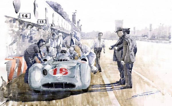 Motorsport Painting - 1955 Mercedes Benz W 196 Str Stirling Moss Italian Gp Monza by Yuriy Shevchuk