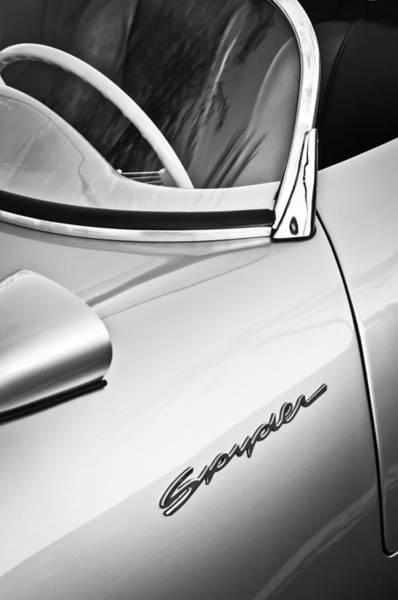 Wall Art - Photograph - 1955 Porsche Spyder Emblem -0045bw by Jill Reger