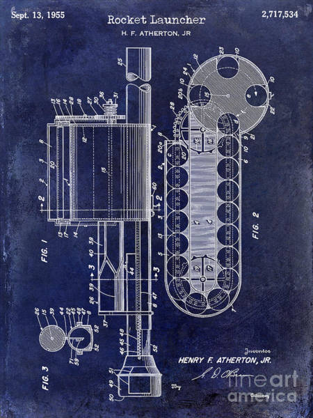 Wesson Photograph - 1955 Rocket Launcher Patent Drawing Blue by Jon Neidert