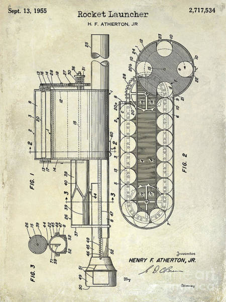 Revolver Photograph - 1955 Rocket Launcher Patent Drawing by Jon Neidert