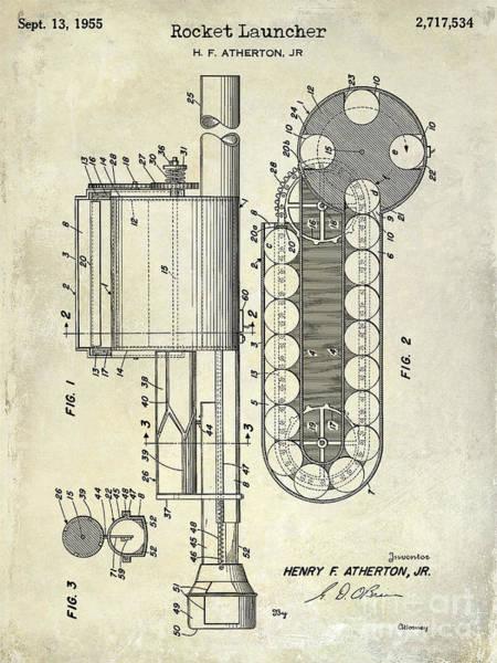 Wesson Photograph - 1955 Rocket Launcher Patent Drawing by Jon Neidert