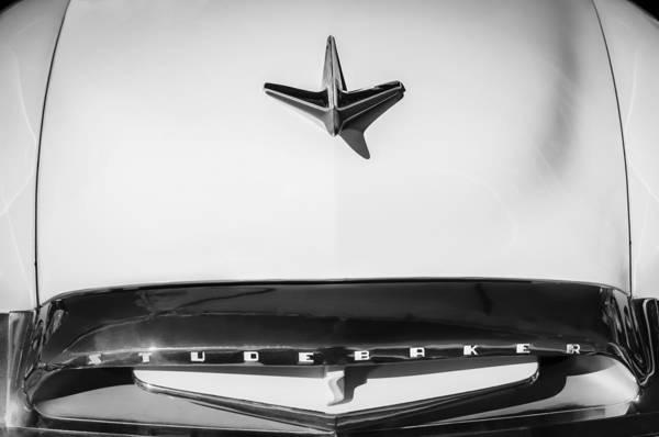 Photograph - 1955 Studebaker Commander Sedan Grille Emblem - Hood Ornament -0578bw by Jill Reger