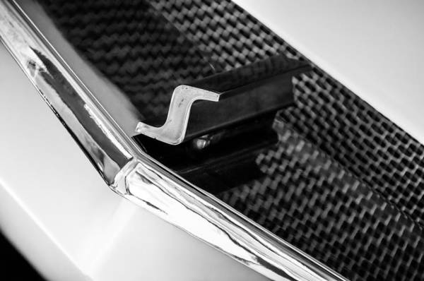 Photograph - 1955 Studebaker Grille Emblem -0898bw by Jill Reger