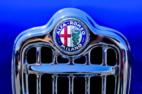 Photograph - 1956 Alfa Romeo Sprint Veloce Coupe Ultra Light Grille Emblem by Jill Reger