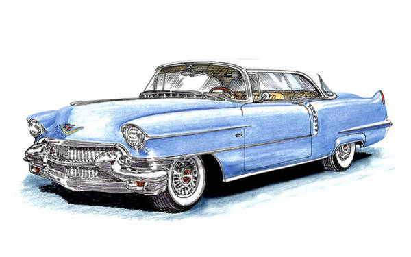 Yourself Drawing - 1956 Cadillac Coupe De Ville by Jack Pumphrey