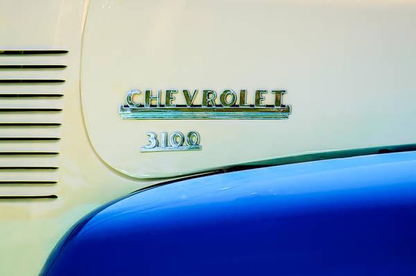 1956 Chevy Wall Art - Photograph - 1956 Chevrolet 3100 Pickup Truck Emblem by Jill Reger