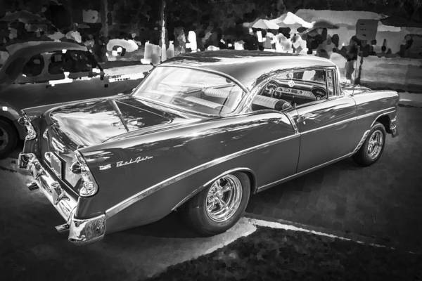 V8 Engine Wall Art - Photograph - 1956 Chevrolet Bel Air 210 Bw by Rich Franco